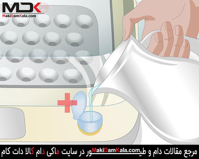 جهت استفاده از دستگاه جوجه کشی آب را به مخزن آب دستگاه جوجه کشی اضافه نمایید