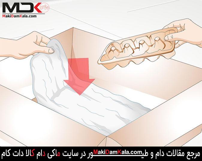 مقداری کاغذ کاهی را در زیر محلّ تولّد جوجه ها قرار دهید